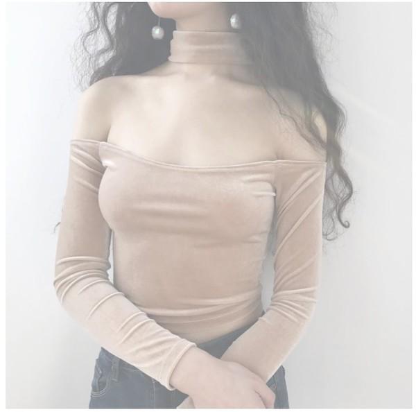 blouse girly crop tops crop cropped velvet off the shoulder off the shoulder top long sleeves velvet top