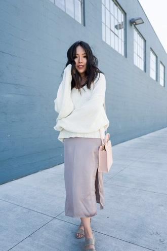 sweater skirt maxi skirt bag white bag white sweater knitted sweater sandals