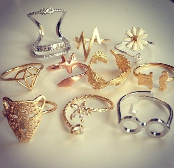 jewels ring gold gold ring fox knuckle ring