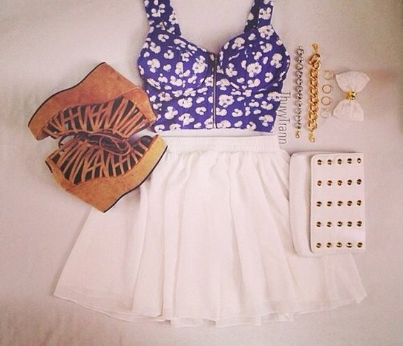 wedges shirt white skater skirt floral print bralette