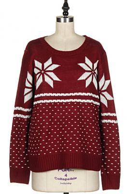 Holiday spirit snowflake print knit sweater in burgundy
