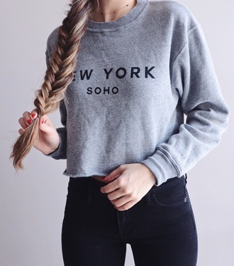 sweater soho pale trendy indie hipster grey gray black white jeans cozy comfy winter outfits