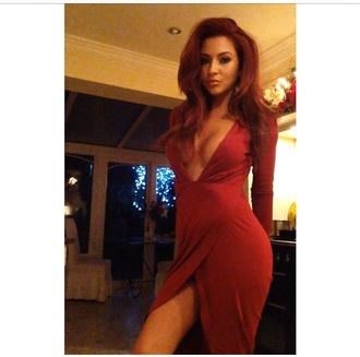 dress red dress red bodycon red bodycon dress v neck dress plunge v neck plunge dress slit dress evening dress prom dress red wine dress