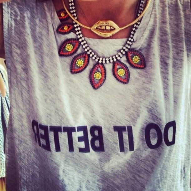 jewels necklace gold gold necklace statement necklace jewelry colorful necklace t-shirt