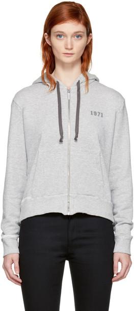 Saint Laurent hoodie zip grey sweater