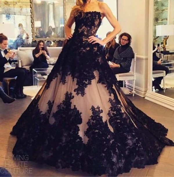 Dress: prom dress, black dress, lace dress, black, lace, champagne ...