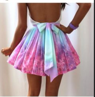 short drees galaxy dress bow back dress