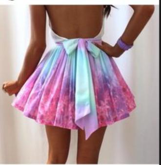 short drees galaxy dress bow back dress