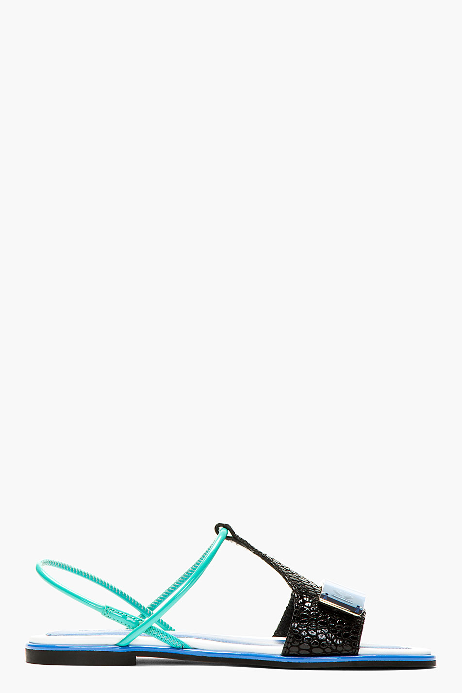 Kenzo black and turquoise tao flat sandals
