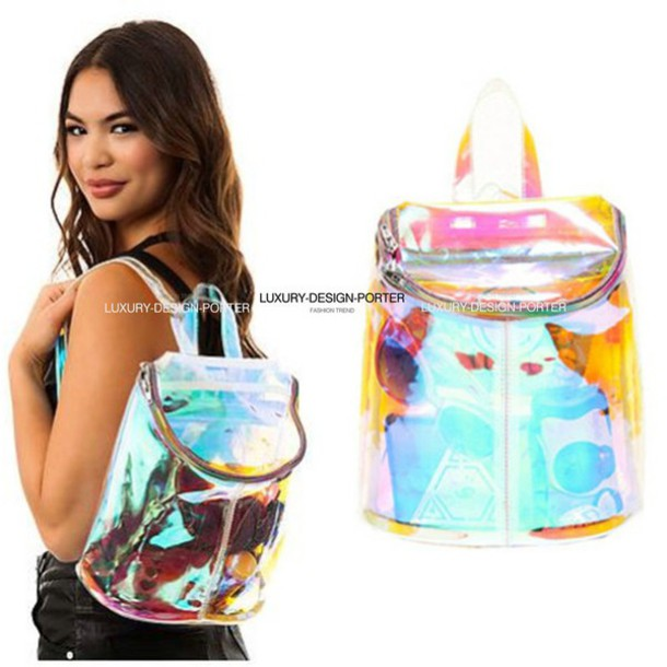 bag holographic translucent pvc rainbow fabric