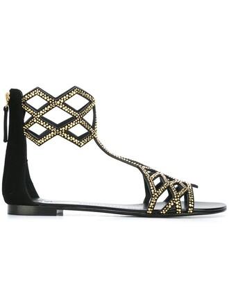 women sandals flat sandals leather suede black shoes
