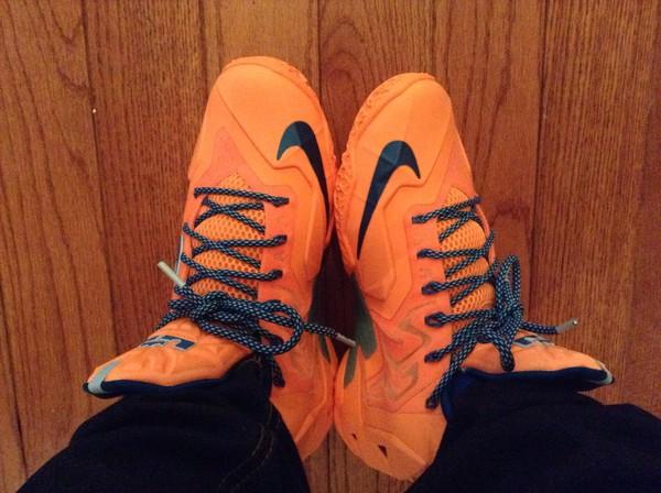 shoes blue and orange lebron  11s