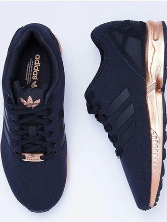 black sneakers adidas workout sportswear sports shoes adidas zx flux shoes adidas shoes black and gold black rose gold love need  black and gold adidas sneakers black and gold zx flux adidas