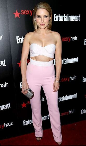 jumpsuit strapless sophia bush sandals clutch bag