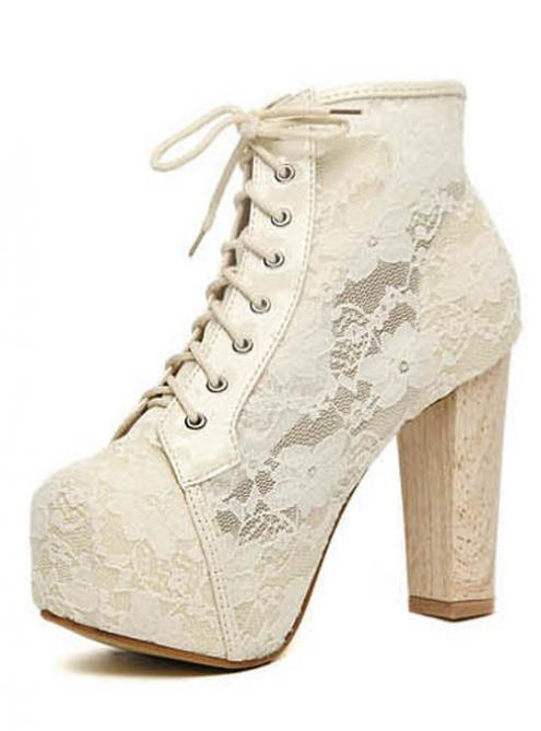 White Lace Chunky Heel Ankle Boots Shoes$82