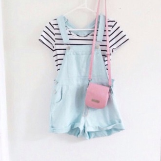 jumpsuit cute lovely summer blue sweet
