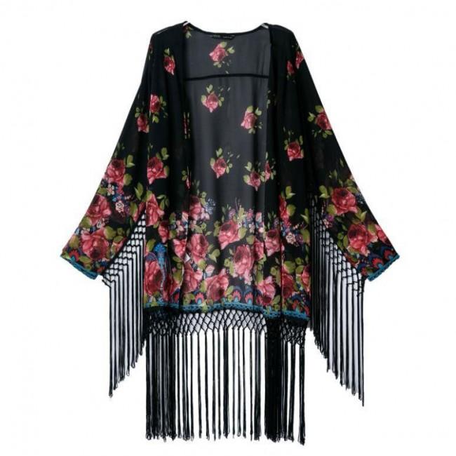 Bloom pattern dark gypsy kimono