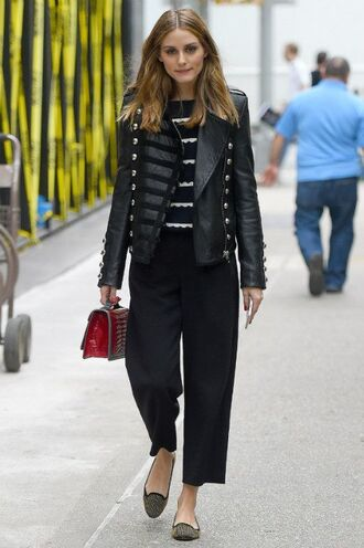 jacket pants flats olivia palermo purse