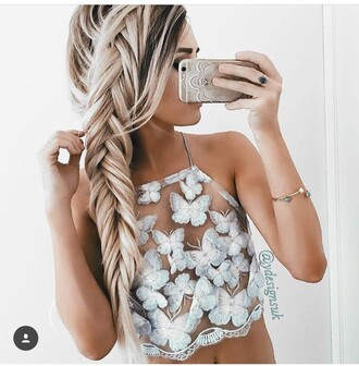 shirt white crop butterfly halter top white crop tops blouse top cute crop-top summer summer top fashion prom print tank top see through top halter crop top crop tops braid long hair sexy