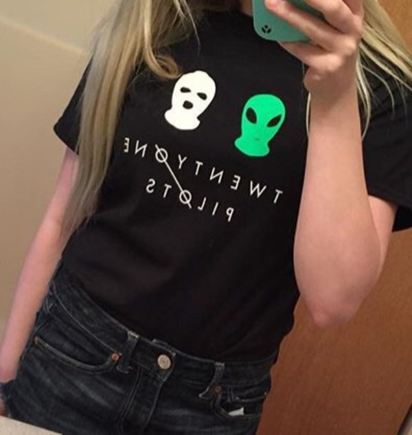 shirt black shirt t-shirt twenty one pilots band t-shirt