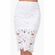 White hook flower crochet pencil skirt_12.64