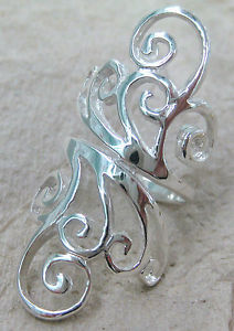 Solid 925 sterling silver plain long filigree swirl women's dress ring