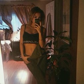 tank top,dolce and gabbana,bra,sports bra,black,shirt,top,black top,olive green,green jumpsuit,flat stomach,belly button ring,overalls,cute outfits,selfie,ootd,outfit idea