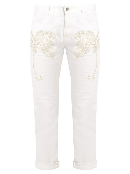 Stella McCartney jeans cropped jeans embroidered cropped tree palm tree white