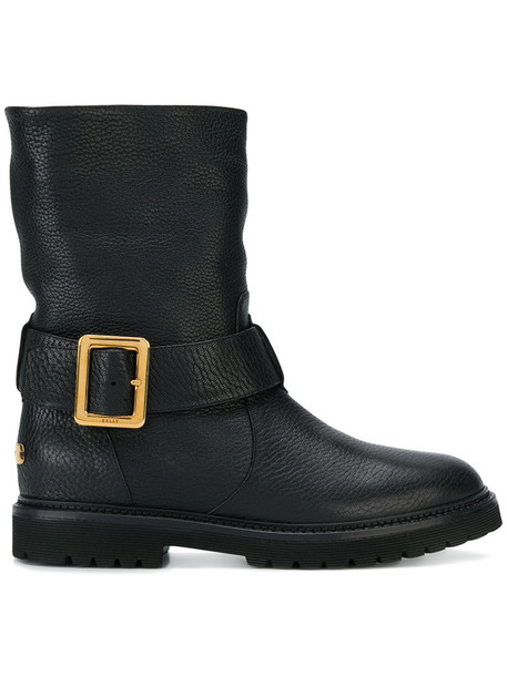 Bally biker boots fur women leather black shoes