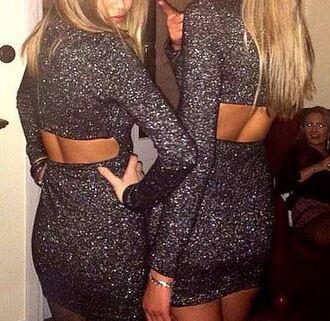 backless dress black sparkly glitter dress glitter clubwear lurex new year's eve