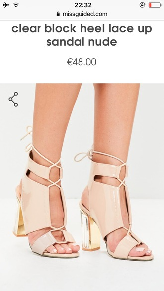 shoes perspex lace up clear heel nude beige patent plastic heel