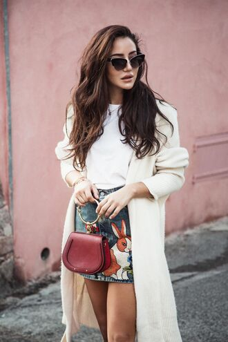 skirt tumblr mini skirt embroidered embroidered skirt cardigan white cardigan sunglasses bag handbag