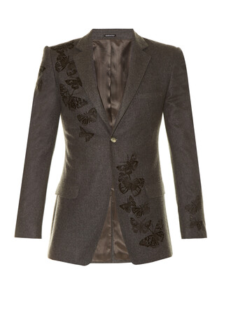 blazer embroidered butterfly wool jacket