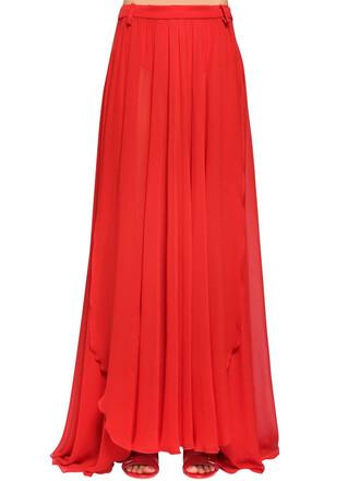 skirt long skirt long silk red