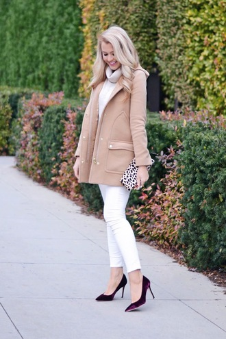 brightandbeautiful blogger coat sweater pants bag shoes nude coat clutch white jeans high heel pumps
