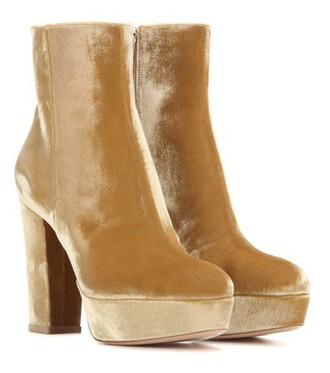 boots platform boots velvet gold shoes