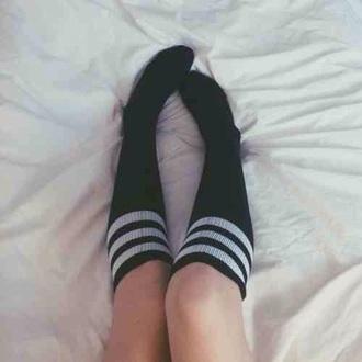 socks black white long cute knee length baseball sportswear sporty teenagers tumblr cool girl sexy