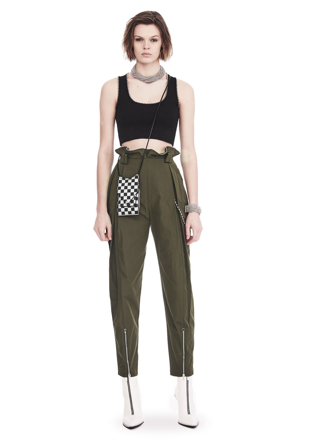 low price durable modeling fantastic savings Alexander Wang HIGH WAISTED ARMY PANTS WITH BALLCHAIN PANTS | Official Site