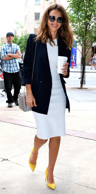 dress blazer pumps jessica alba midi dress white dress sunglasses coffee victoria beckham victoria beckham dress