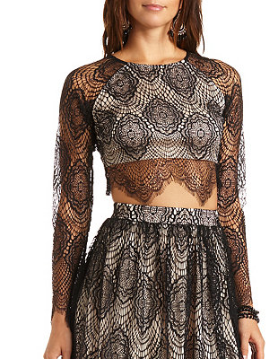 83a0006a382e84 Long Sleeve Lace Crop Top  Charlotte Russe