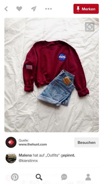 sweater burgundy nasa