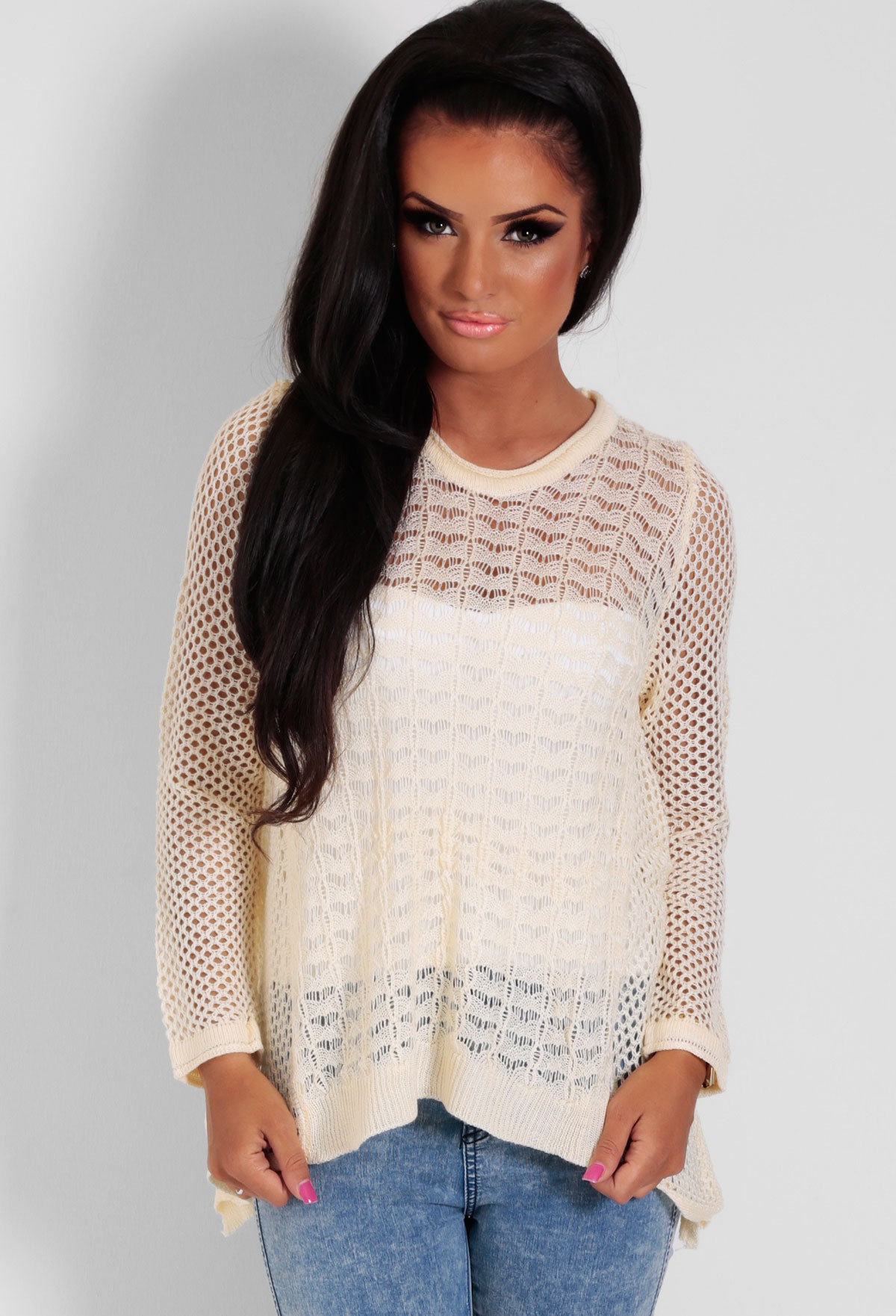 Evalina Cream Flared Crochet Knit Jumper | Pink Boutique