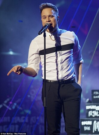 shirt black white olly murs bgt monochrome one stripe stripes menswear celebrity celeb clothes britain's got talent