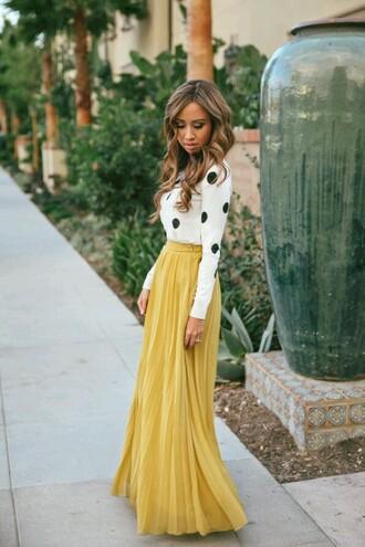 skirt shirt blouse polka dots yellow mustard black and white fashion maxi dress sweater