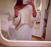 sweater,cream,skirt,maxi skirt,maxi,white,pullover,knit,knitwear,clothes,outfit,summer,hair accessory