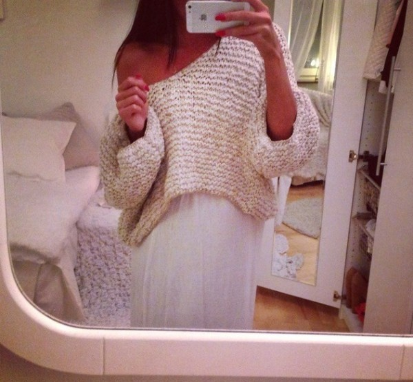 sweater cream skirt maxi skirt maxi white pullover knit knitwear clothes outfit summer hair accessory
