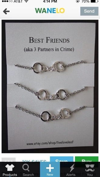 jewels bestfriend necklace partners in crime necklace handcuffs silver