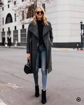 coat,grey coat,jeans,boots,bag,sunglasses
