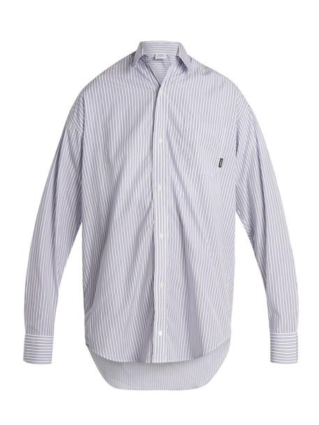 Vetements shirt oversized cotton white blue top