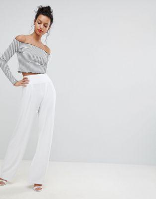 ASOS DESIGN Wide Leg Trousers With Deep Waistband at asos.com